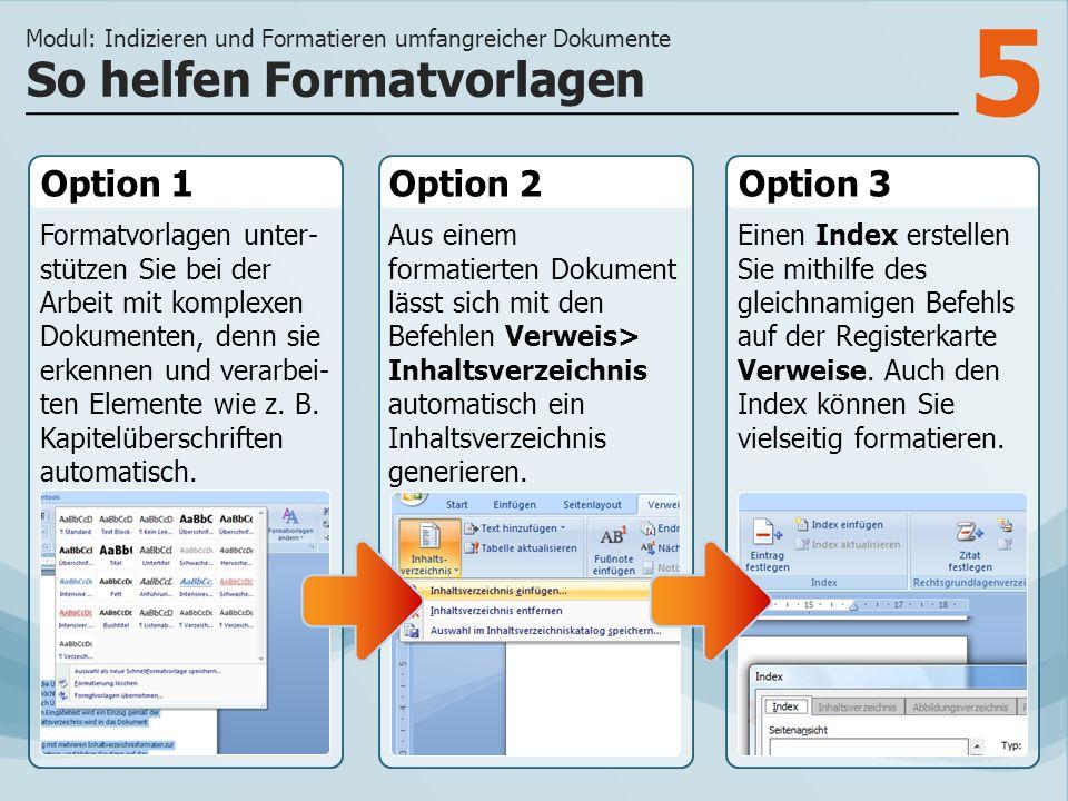 5 Option 1 Formatvorlagen unter- stützen Sie bei der Arbeit mit komplexen Dokumenten, denn sie erkennen und verarbei- ten Elemente wie z.