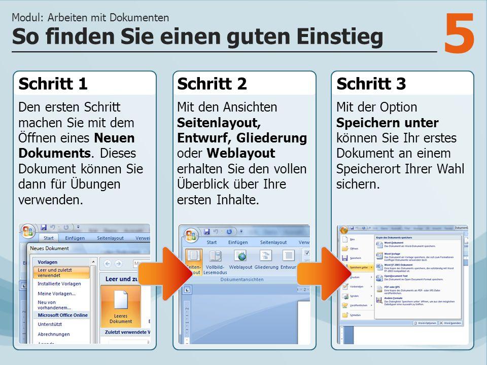 6 Sie haben Ihr erstes Dokument erstellt und gespeichert.