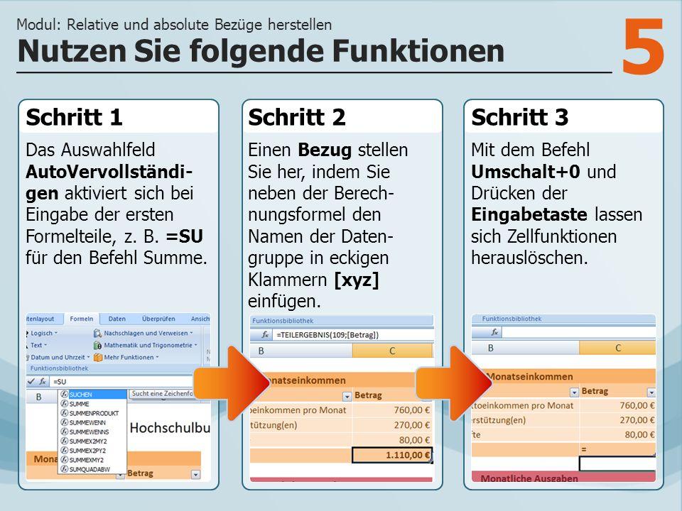 5 Schritt 1 Das Auswahlfeld AutoVervollständi- gen aktiviert sich bei Eingabe der ersten Formelteile, z. B. =SU für den Befehl Summe. Schritt 2Schritt
