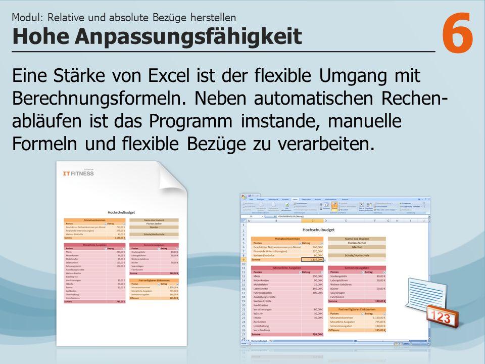 6 Eine Stärke von Excel ist der flexible Umgang mit Berechnungsformeln. Neben automatischen Rechen- abläufen ist das Programm imstande, manuelle Forme