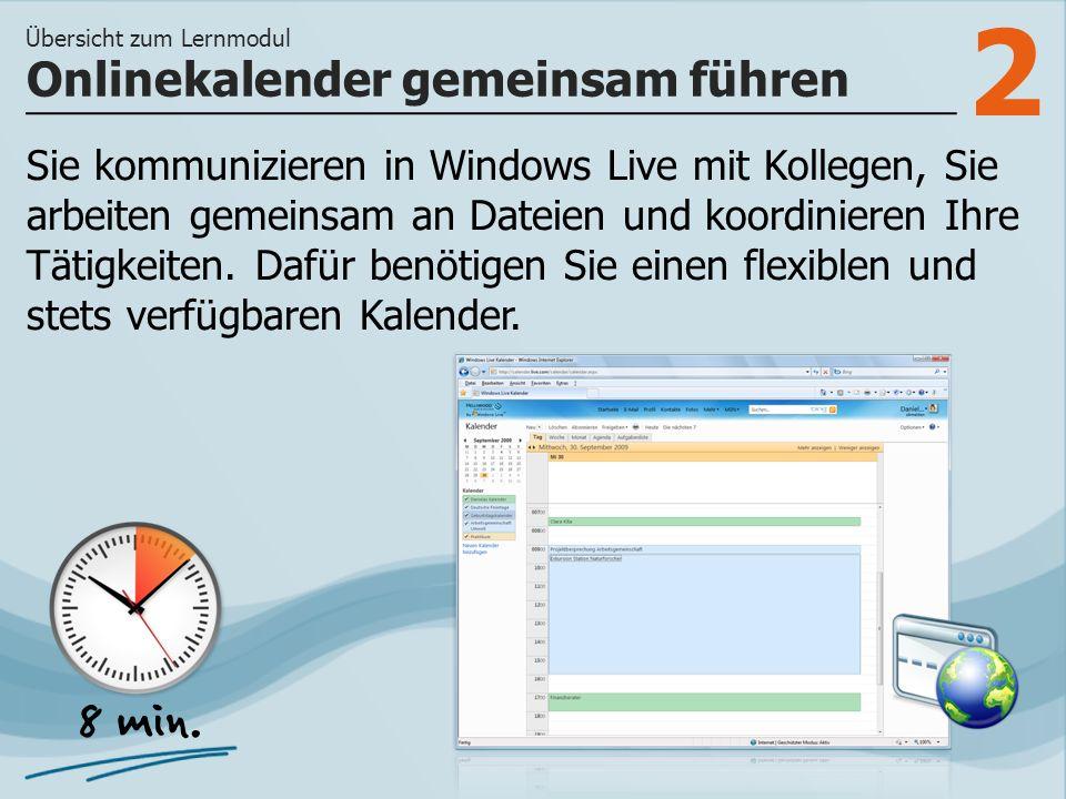 2 Sie kommunizieren in Windows Live mit Kollegen, Sie arbeiten gemeinsam an Dateien und koordinieren Ihre Tätigkeiten.