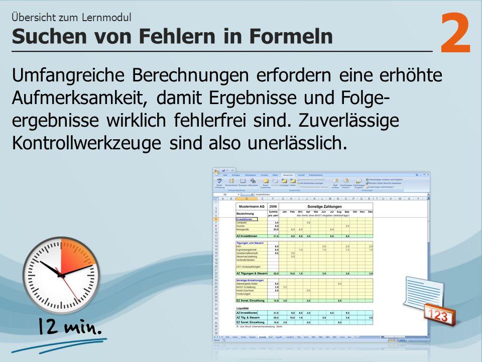 3 >> wie Formelfehler überprüft und korrigiert werden können und wie Sie in Excel mit dem Fehler- Überwachungsfenster arbeiten.