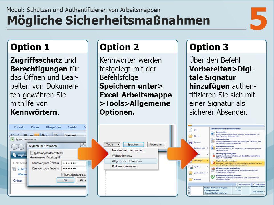 5 Option 1 Zugriffsschutz und Berechtigungen für das Öffnen und Bear- beiten von Dokumen- ten gewähren Sie mithilfe von Kennwörtern.