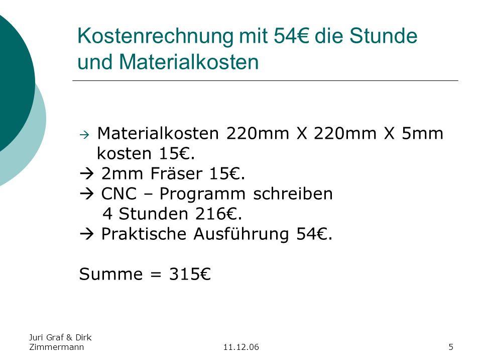 Juri Graf & Dirk Zimmermann11.12.065 Kostenrechnung mit 54 die Stunde und Materialkosten Materialkosten 220mm X 220mm X 5mm kosten 15. 2mm Fräser 15.