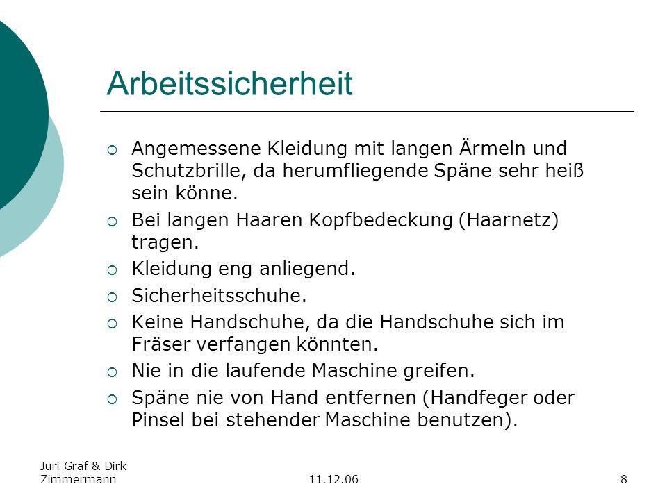Juri Graf & Dirk Zimmermann11.12.068 Arbeitssicherheit Angemessene Kleidung mit langen Ärmeln und Schutzbrille, da herumfliegende Späne sehr heiß sein