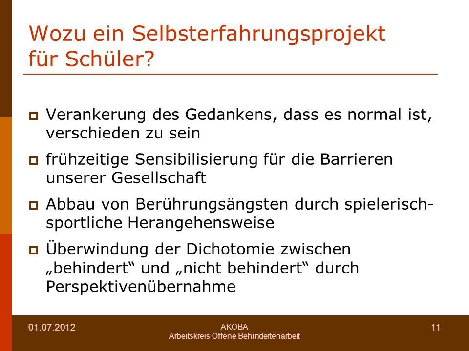01.07.2012 AKOBA Arbeitskreis Offene Behindertenarbeit 11 Wozu ein Selbsterfahrungsprojekt für Schüler.