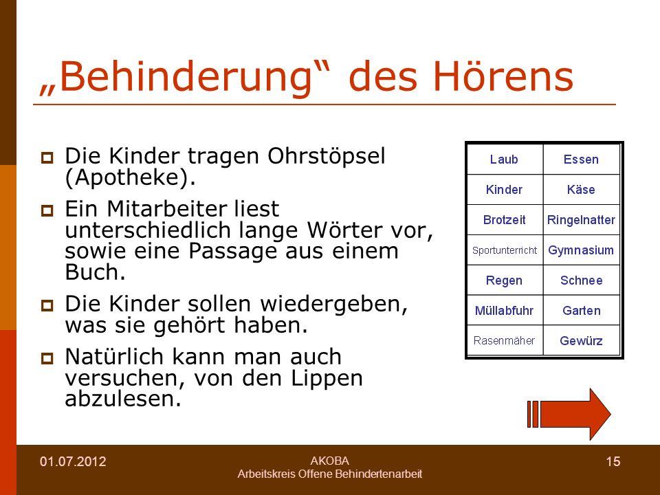 01.07.2012 AKOBA Arbeitskreis Offene Behindertenarbeit 15 Behinderung des Hörens Die Kinder tragen Ohrstöpsel (Apotheke).