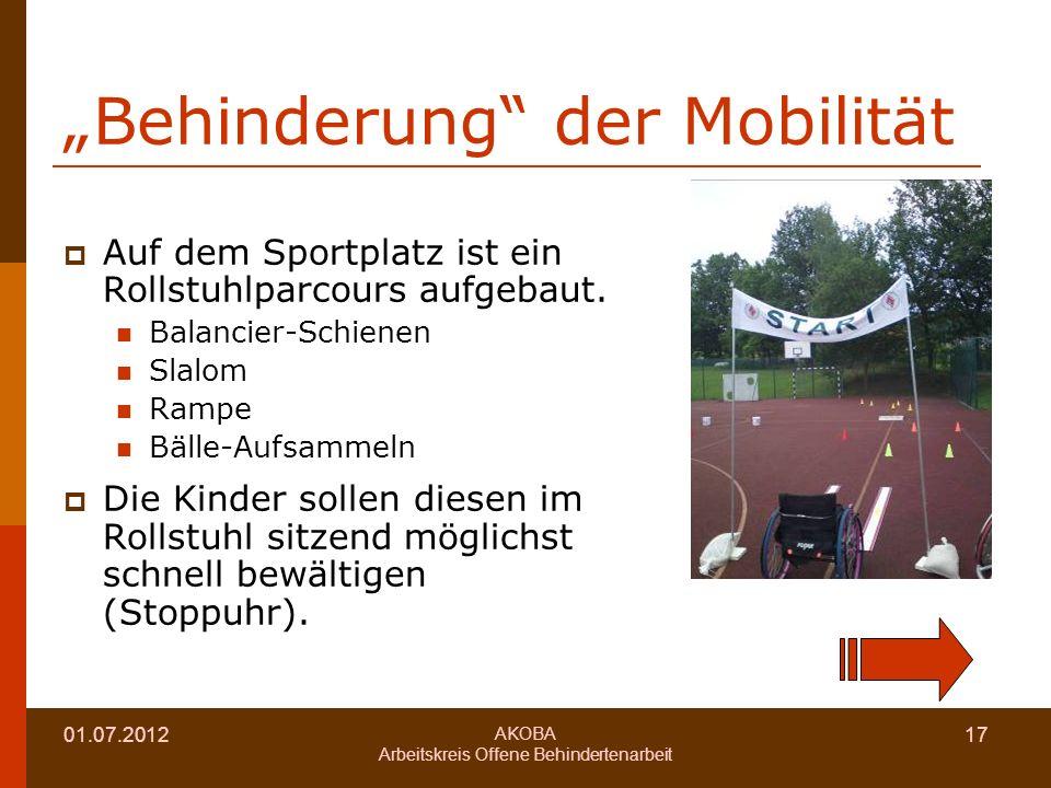01.07.2012 AKOBA Arbeitskreis Offene Behindertenarbeit 17 Behinderung der Mobilität Auf dem Sportplatz ist ein Rollstuhlparcours aufgebaut.