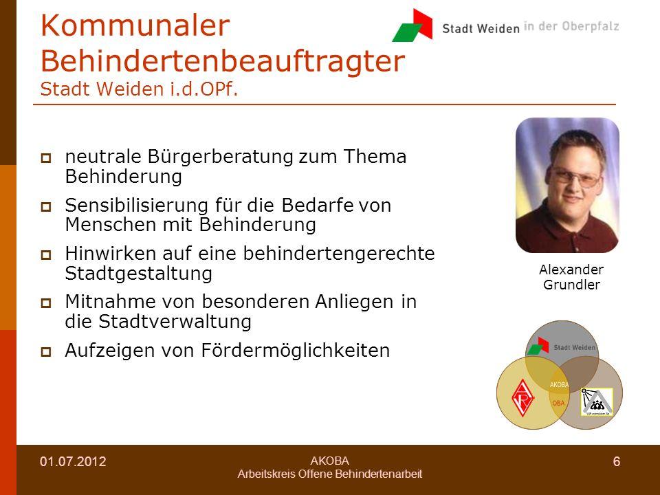 01.07.2012 AKOBA Arbeitskreis Offene Behindertenarbeit 6 Kommunaler Behindertenbeauftragter Stadt Weiden i.d.OPf.