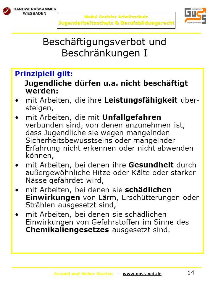 Gesund und Sicher Starten - www.guss-net.de Modul Sozialer Arbeitsschutz Jugendarbeitsschutz & Berufsbildungsrecht 14 Prinzipiell gilt: Jugendliche dü