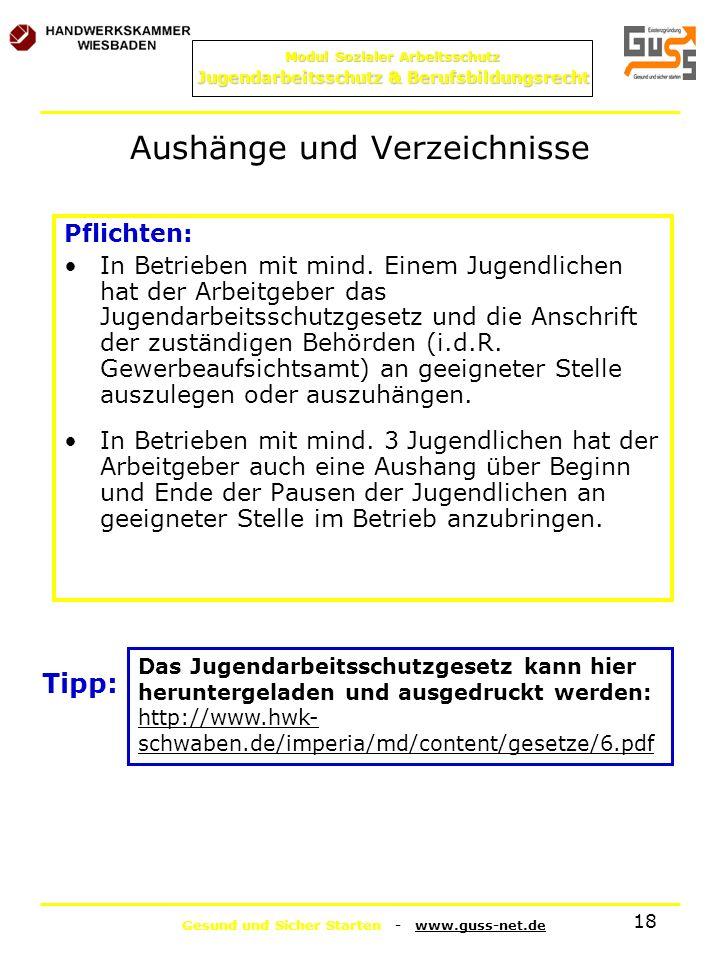 Gesund und Sicher Starten - www.guss-net.de Modul Sozialer Arbeitsschutz Jugendarbeitsschutz & Berufsbildungsrecht 18 Aushänge und Verzeichnisse Pflic
