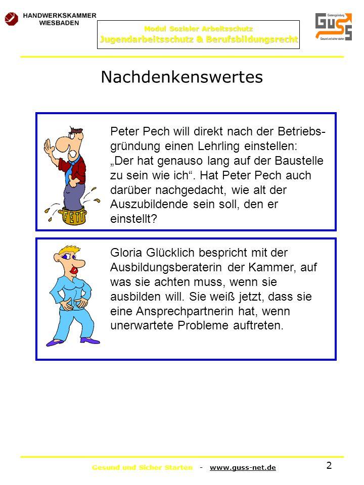Gesund und Sicher Starten - www.guss-net.de Modul Sozialer Arbeitsschutz Jugendarbeitsschutz & Berufsbildungsrecht 2 Nachdenkenswertes Peter Pech will