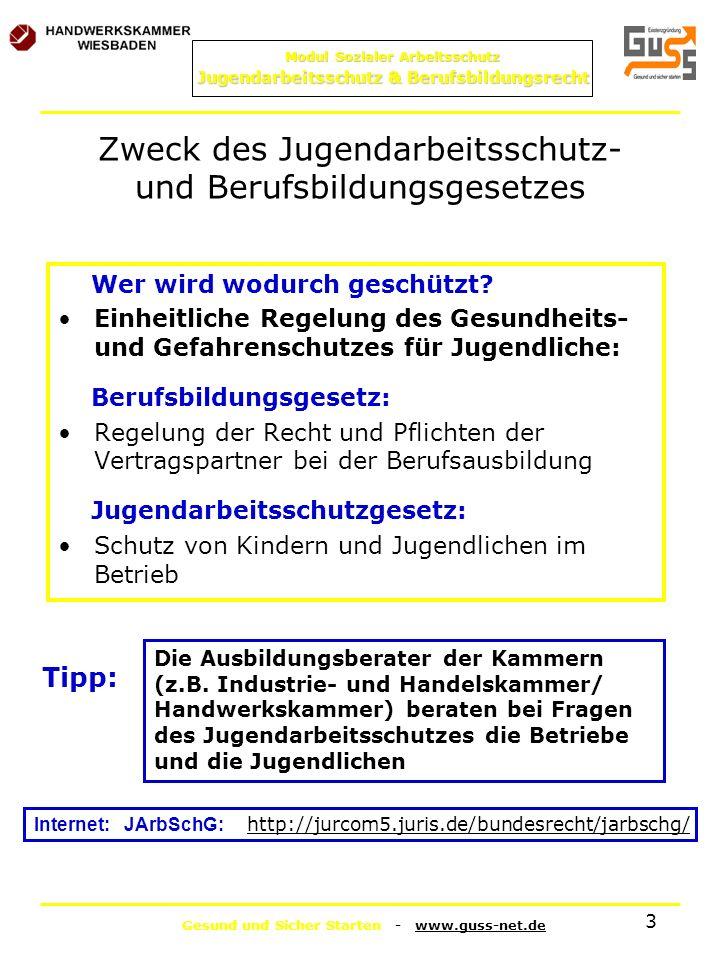 Gesund und Sicher Starten - www.guss-net.de Modul Sozialer Arbeitsschutz Jugendarbeitsschutz & Berufsbildungsrecht 3 Zweck des Jugendarbeitsschutz- un