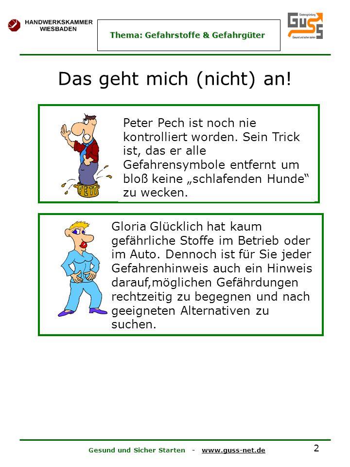 Gesund und Sicher Starten - www.guss-net.de Thema: Gefahrstoffe & Gefahrgüter 2 Das geht mich (nicht) an! Peter Pech ist noch nie kontrolliert worden.