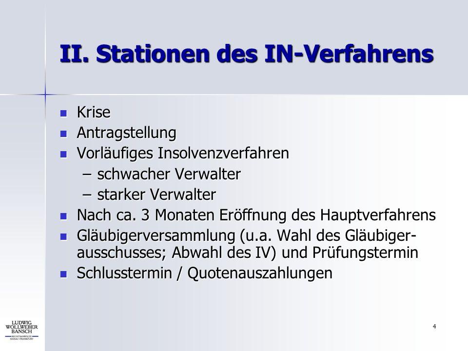 4 II. Stationen des IN-Verfahrens Krise Krise Antragstellung Antragstellung Vorläufiges Insolvenzverfahren Vorläufiges Insolvenzverfahren –schwacher V