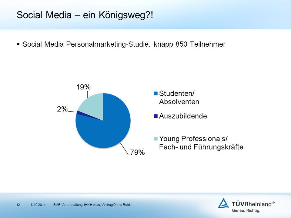 Social Media – ein Königsweg?! Social Media Personalmarketing-Studie: knapp 850 Teilnehmer 18.10.2011BME-Veranstaltung, IHK Hanau, Vortrag Diana Roida