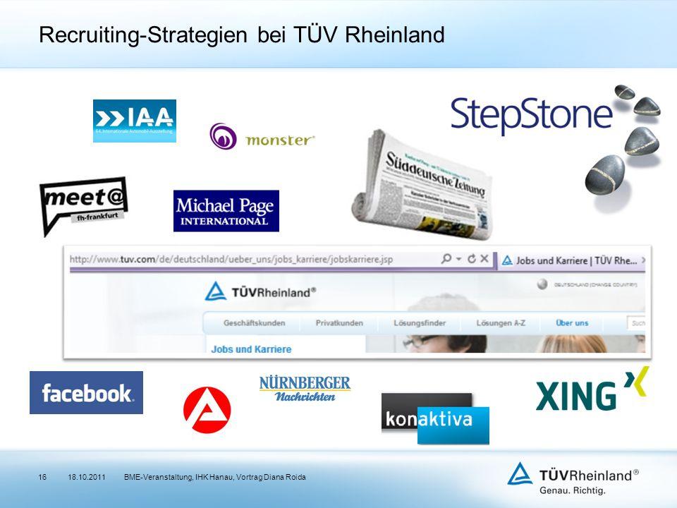 Recruiting-Strategien bei TÜV Rheinland 18.10.2011BME-Veranstaltung, IHK Hanau, Vortrag Diana Roida16
