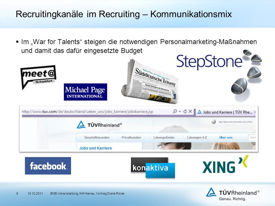 Recruitingkanäle im Recruiting – Kommunikationsmix Im War for Talents steigen die notwendigen Personalmarketing-Maßnahmen und damit das dafür eingeset