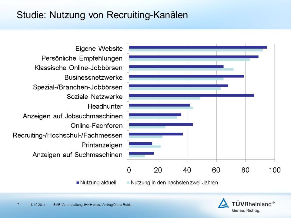 Studie: Nutzung von Recruiting-Kanälen 18.10.2011BME-Veranstaltung, IHK Hanau, Vortrag Diana Roida7