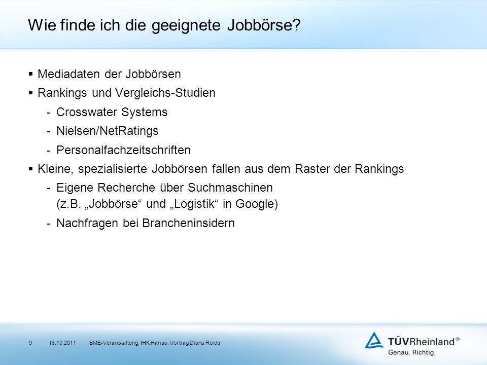 Wie finde ich die geeignete Jobbörse? Mediadaten der Jobbörsen Rankings und Vergleichs-Studien -Crosswater Systems -Nielsen/NetRatings -Personalfachze