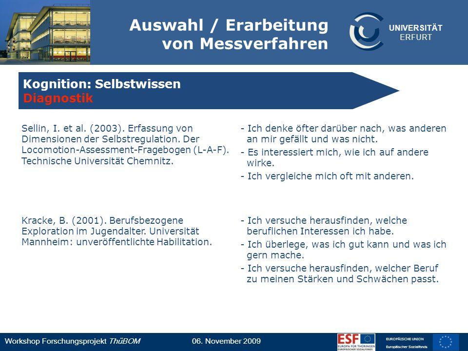 UNIVERSITÄT ERFURT Workshop Forschungsprojekt ThüBOM06. November 2009 EUROPÄISCHE UNION Europäischer Sozialfonds Auswahl / Erarbeitung von Messverfahr