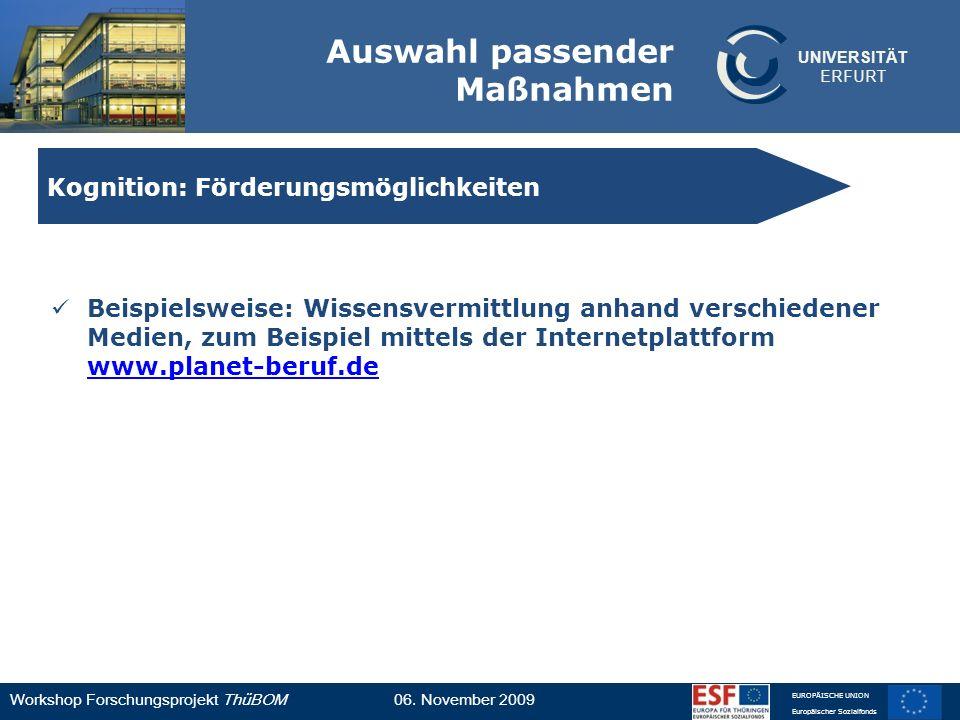 UNIVERSITÄT ERFURT Workshop Forschungsprojekt ThüBOM06. November 2009 EUROPÄISCHE UNION Europäischer Sozialfonds Auswahl passender Maßnahmen Beispiels