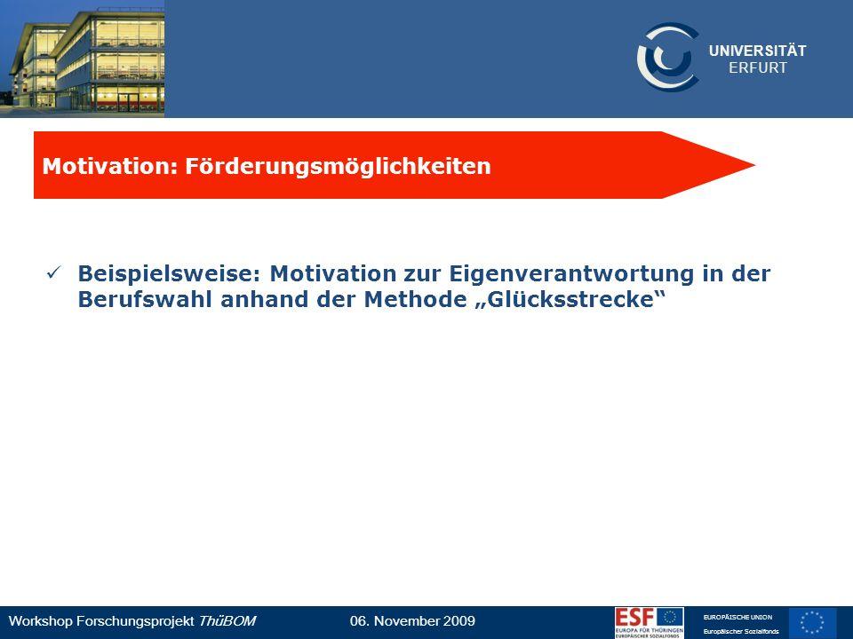 UNIVERSITÄT ERFURT Workshop Forschungsprojekt ThüBOM06. November 2009 EUROPÄISCHE UNION Europäischer Sozialfonds Beispielsweise: Motivation zur Eigenv