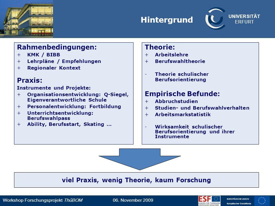 UNIVERSITÄT ERFURT Workshop Forschungsprojekt ThüBOM06. November 2009 EUROPÄISCHE UNION Europäischer Sozialfonds Hintergrund Rahmenbedingungen: +KMK /
