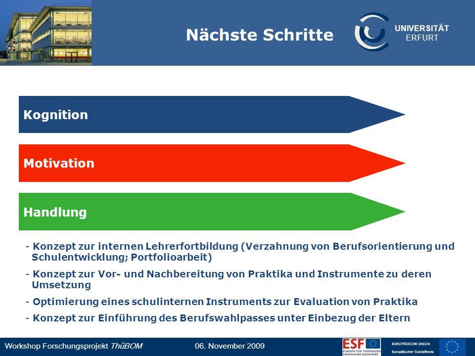 UNIVERSITÄT ERFURT Workshop Forschungsprojekt ThüBOM06. November 2009 EUROPÄISCHE UNION Europäischer Sozialfonds Nächste Schritte Motivation Kognition