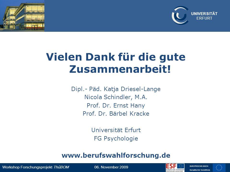 UNIVERSITÄT ERFURT Workshop Forschungsprojekt ThüBOM06. November 2009 EUROPÄISCHE UNION Europäischer Sozialfonds Vielen Dank für die gute Zusammenarbe