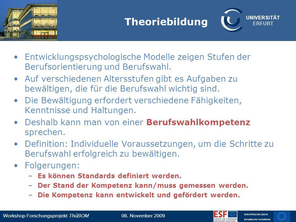 UNIVERSITÄT ERFURT Workshop Forschungsprojekt ThüBOM06. November 2009 EUROPÄISCHE UNION Europäischer Sozialfonds Theoriebildung Entwicklungspsychologi