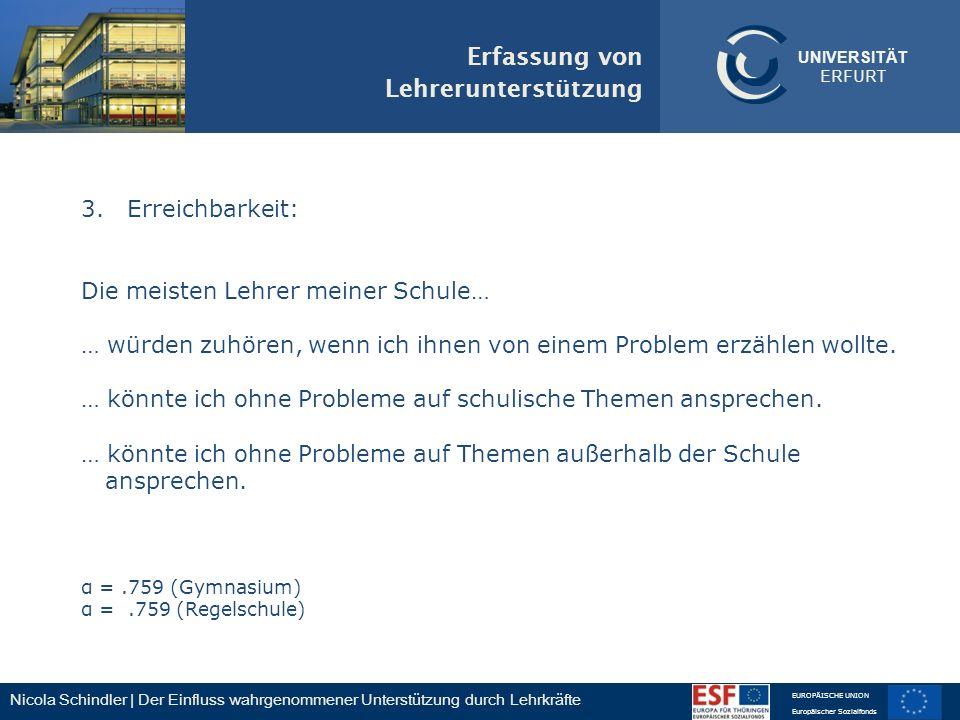 Nicola Schindler | Der Einfluss wahrgenommener Unterstützung durch Lehrkräfte EUROPÄISCHE UNION Europäischer Sozialfonds UNIVERSITÄT ERFURT 3. Erreich