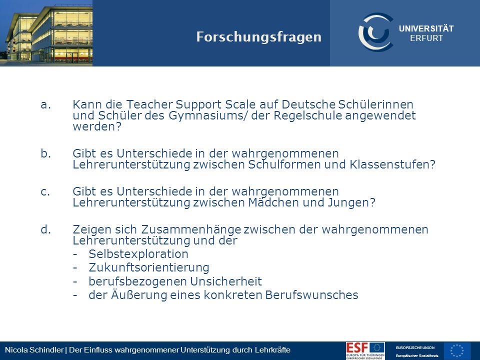 Nicola Schindler | Der Einfluss wahrgenommener Unterstützung durch Lehrkräfte EUROPÄISCHE UNION Europäischer Sozialfonds UNIVERSITÄT ERFURT Forschungs