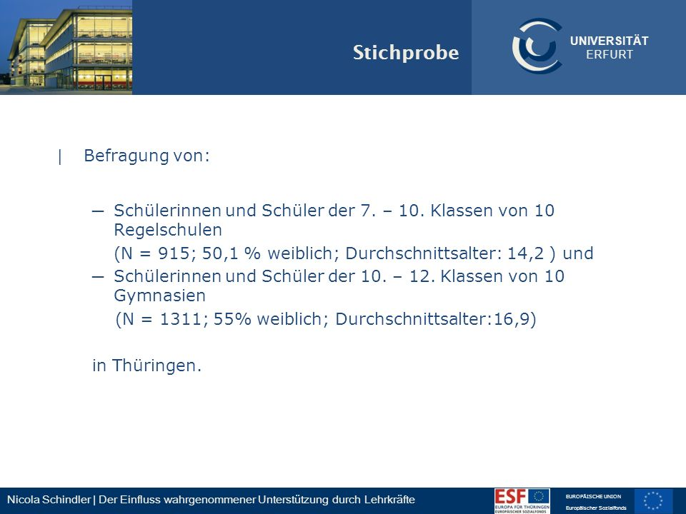 Nicola Schindler | Der Einfluss wahrgenommener Unterstützung durch Lehrkräfte EUROPÄISCHE UNION Europäischer Sozialfonds UNIVERSITÄT ERFURT Stichprobe