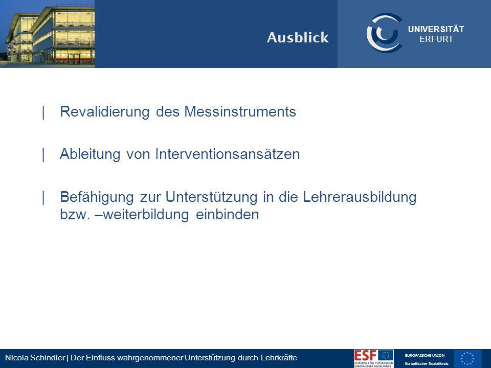 Nicola Schindler | Der Einfluss wahrgenommener Unterstützung durch Lehrkräfte EUROPÄISCHE UNION Europäischer Sozialfonds UNIVERSITÄT ERFURT Ausblick |