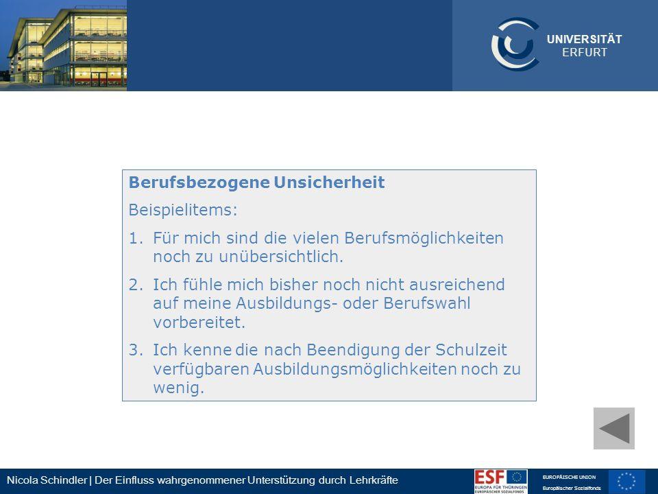 Nicola Schindler | Der Einfluss wahrgenommener Unterstützung durch Lehrkräfte EUROPÄISCHE UNION Europäischer Sozialfonds UNIVERSITÄT ERFURT Berufsbezo