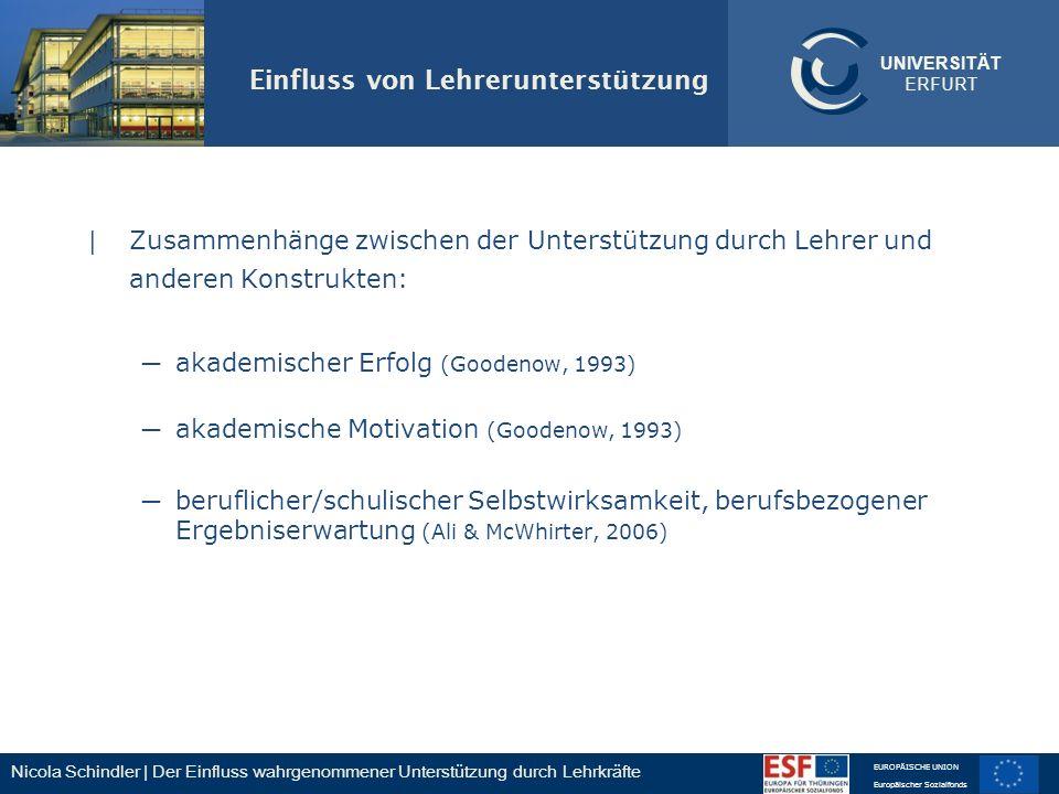 Nicola Schindler | Der Einfluss wahrgenommener Unterstützung durch Lehrkräfte EUROPÄISCHE UNION Europäischer Sozialfonds UNIVERSITÄT ERFURT Einfluss v