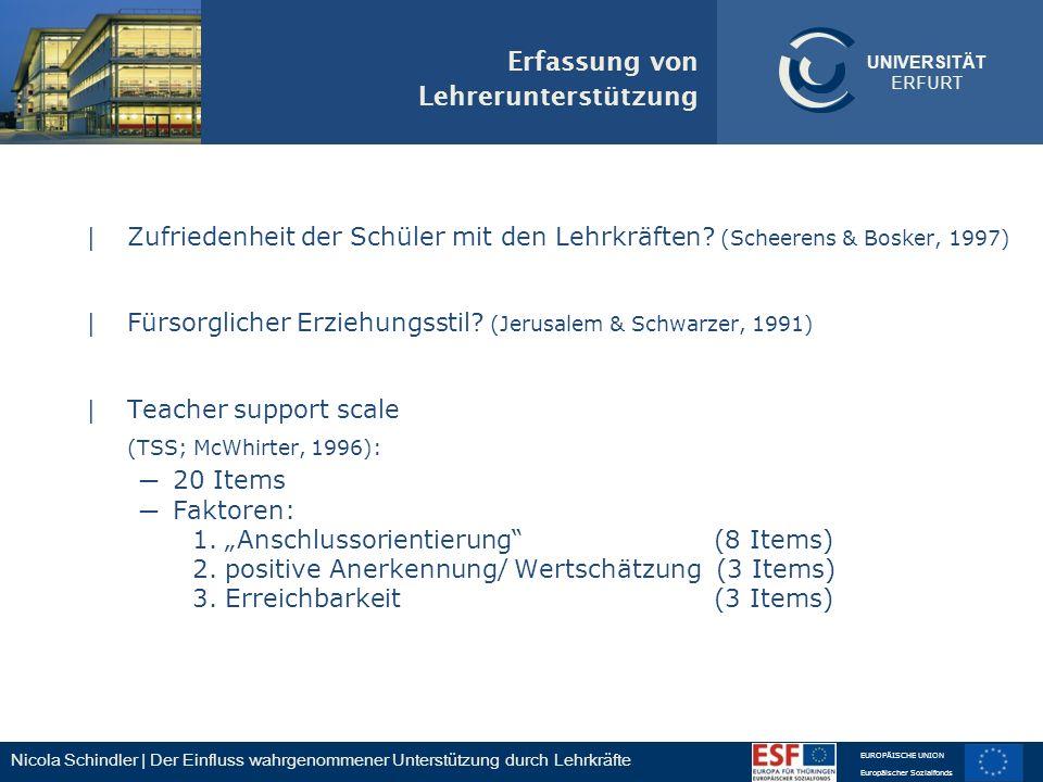 Nicola Schindler | Der Einfluss wahrgenommener Unterstützung durch Lehrkräfte EUROPÄISCHE UNION Europäischer Sozialfonds UNIVERSITÄT ERFURT Erfassung