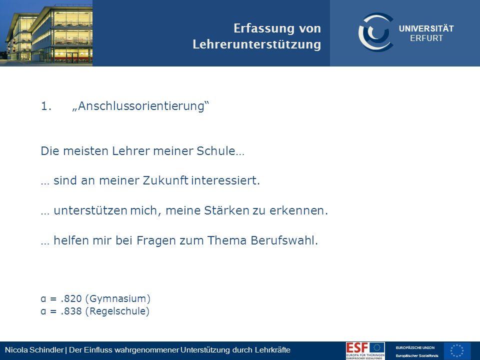 Nicola Schindler | Der Einfluss wahrgenommener Unterstützung durch Lehrkräfte EUROPÄISCHE UNION Europäischer Sozialfonds UNIVERSITÄT ERFURT 1.Anschlus