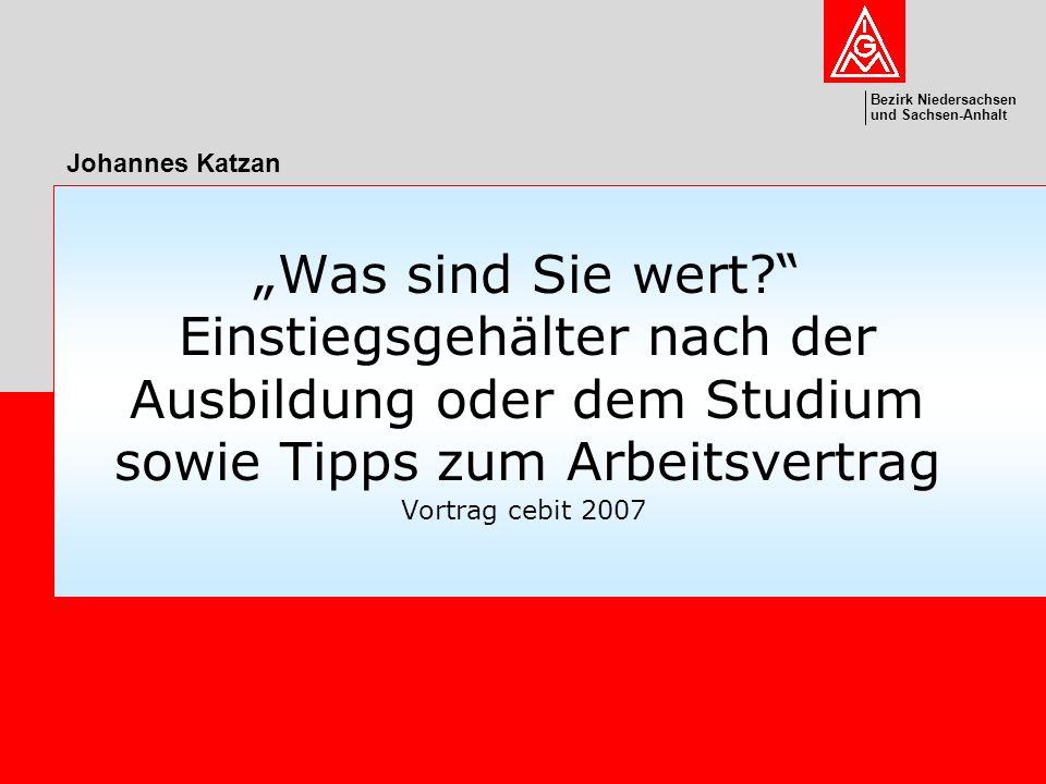 Bezirk Niedersachsen und Sachsen-Anhalt cebit 2007johannes.katzan@igmetall.de Folie 12 Was heißt jährliche Gehaltsüberprüfung .