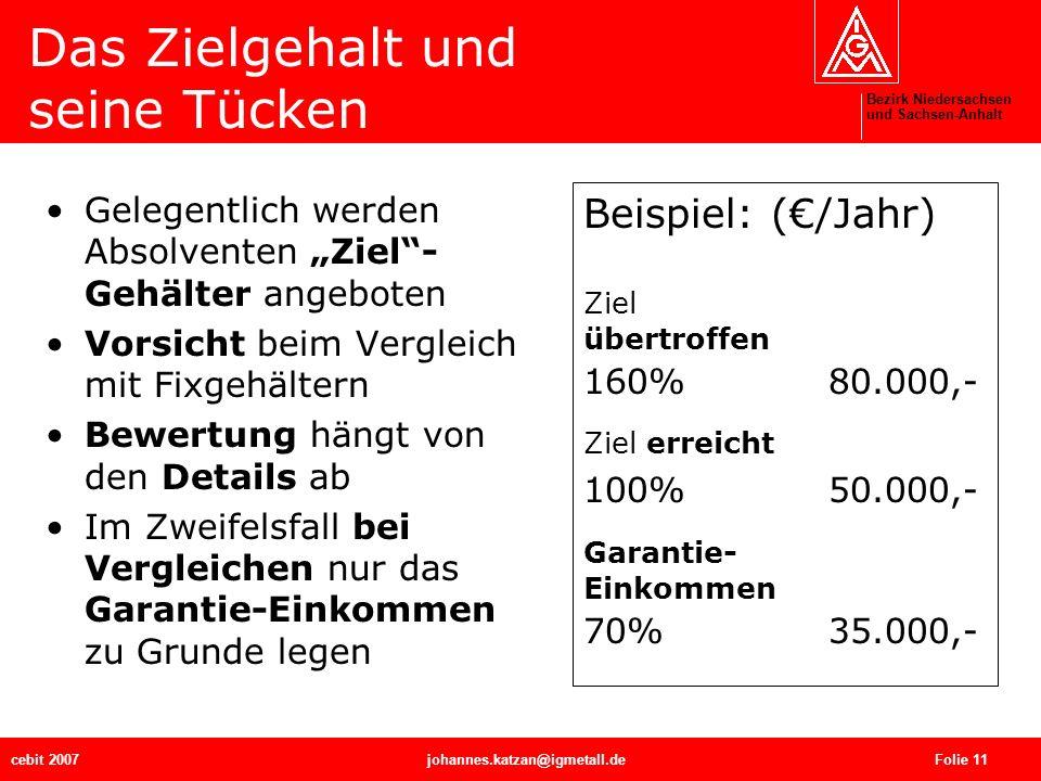 Bezirk Niedersachsen und Sachsen-Anhalt cebit 2007johannes.katzan@igmetall.de Folie 11 Das Zielgehalt und seine Tücken Gelegentlich werden Absolventen