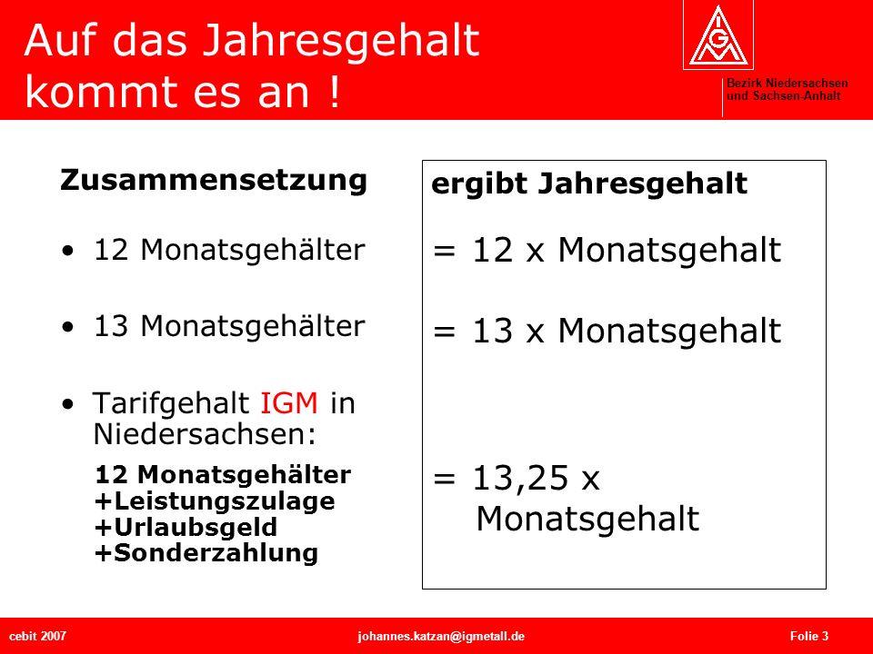 Bezirk Niedersachsen und Sachsen-Anhalt cebit 2007johannes.katzan@igmetall.de Folie 4 Monatsgehalt ist nicht gleich Monatsgehalt Jahresgehalt in Zahlen: Monatsgehalt von 3.281 bei 12 Gehältern 39.372 bei 13 Gehältern 42.653 bei 13,25 Gehältern 44.294