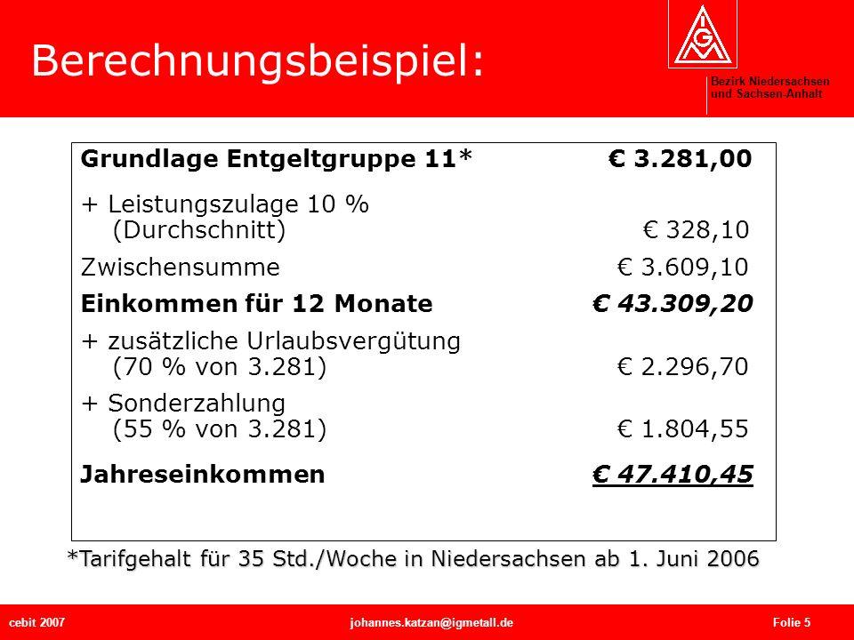 Bezirk Niedersachsen und Sachsen-Anhalt cebit 2007johannes.katzan@igmetall.de Folie 5 Berechnungsbeispiel: Grundlage Entgeltgruppe 11* 3.281,00 + Leis