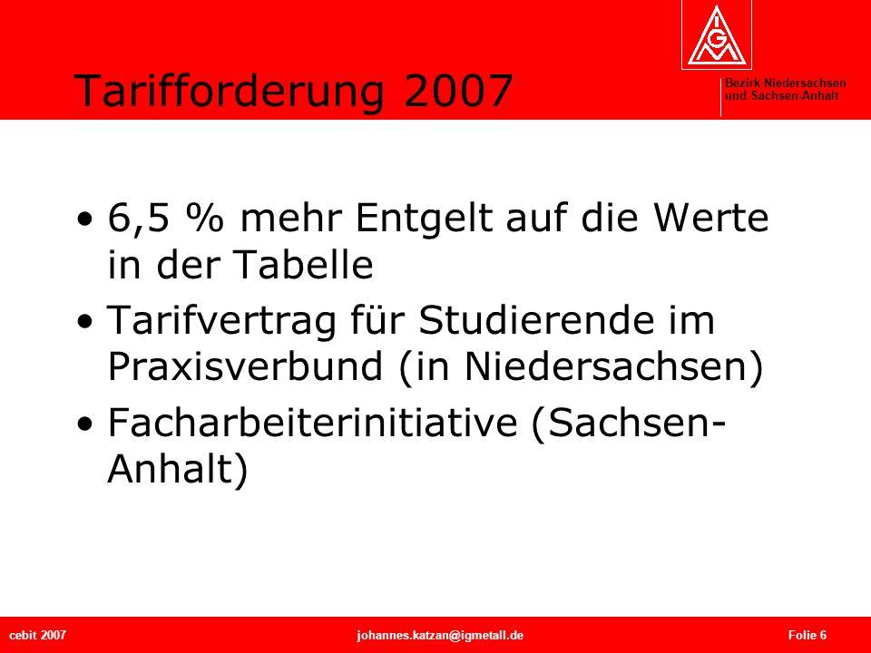Bezirk Niedersachsen und Sachsen-Anhalt cebit 2007johannes.katzan@igmetall.de Folie 6 Tarifforderung 2007 6,5 % mehr Entgelt auf die Werte in der Tabe