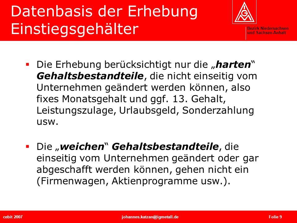 Bezirk Niedersachsen und Sachsen-Anhalt cebit 2007johannes.katzan@igmetall.de Folie 9 Datenbasis der Erhebung Einstiegsgehälter Die Erhebung berücksic