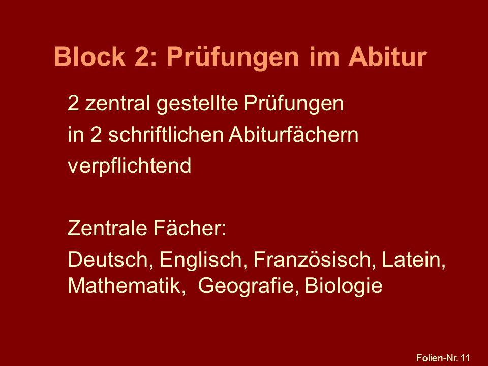 Folien-Nr. 11 Block 2: Prüfungen im Abitur 2 zentral gestellte Prüfungen in 2 schriftlichen Abiturfächern verpflichtend Zentrale Fächer: Deutsch, Engl