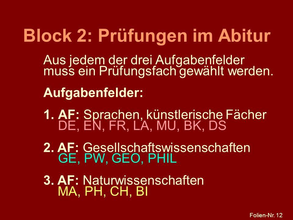 Folien-Nr. 12 Block 2: Prüfungen im Abitur Aus jedem der drei Aufgabenfelder muss ein Prüfungsfach gewählt werden. Aufgabenfelder: 1.AF: Sprachen, kün