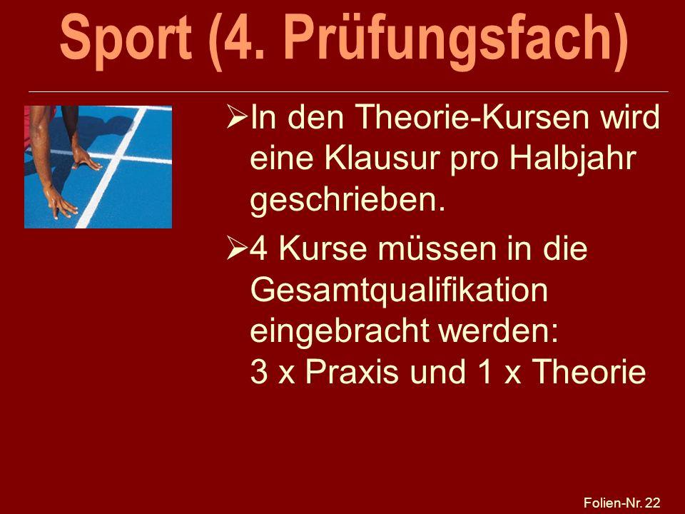 Folien-Nr. 22 Sport (4. Prüfungsfach) In den Theorie-Kursen wird eine Klausur pro Halbjahr geschrieben. 4 Kurse müssen in die Gesamtqualifikation eing
