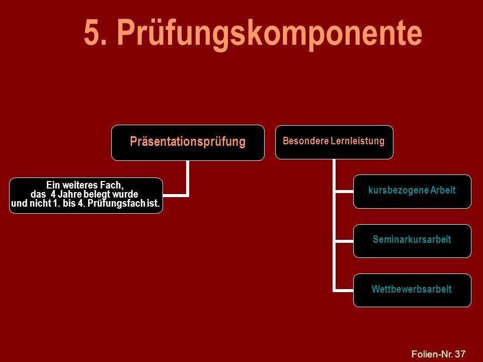 Folien-Nr. 37 5. Prüfungskomponente Präsentationsprüfung Ein weiteres Fach, das 4 Jahre belegt wurde und nicht 1. bis 4. Prüfungsfach ist. Besondere L