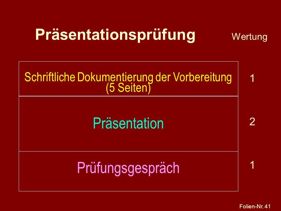 Folien-Nr. 41 Präsentationsprüfung Wertung 1 2 1 Schriftliche Dokumentierung der Vorbereitung (5 Seiten) Präsentation Prüfungsgespräch